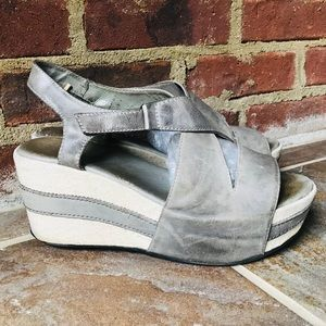 Antelope Grey Thick Strap Platform Wedge Sandals